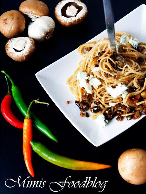 Spaghetti Funghi mit Gorgonzola