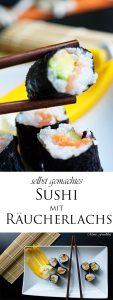 selbst gemachtes Sushi mit Räucherlachs