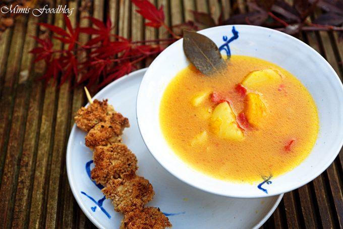 Hokkaido-Chili-Suppe mit Sesam-Geflügel-Spieß