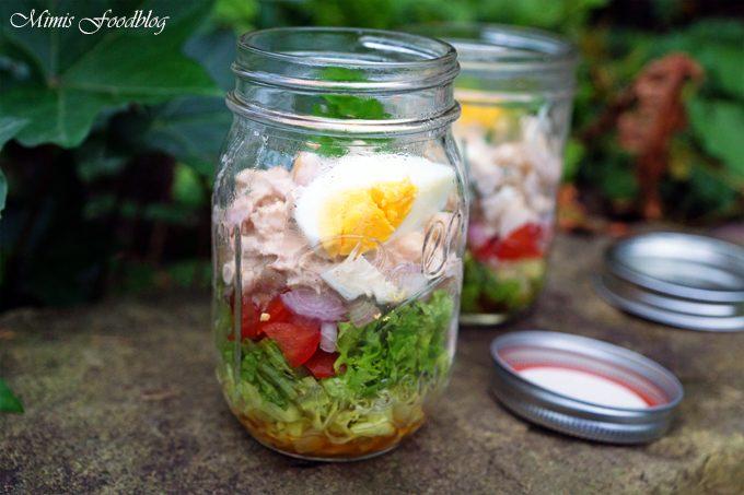 Kichererbsen-Schichtsalat mit Thunfisch