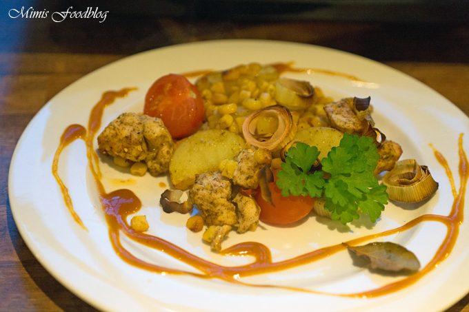 Hähnchenbrust in Weißweinmarinade aus dem Ofen mit Currysauce