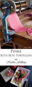 Pinke Rote Bete Tortellini mit Kürbis Füllung