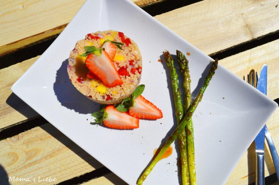 Couscous-Salat an karamellisiertem Spargel