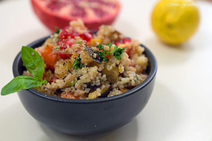 Couscous Salat mit Aubergine