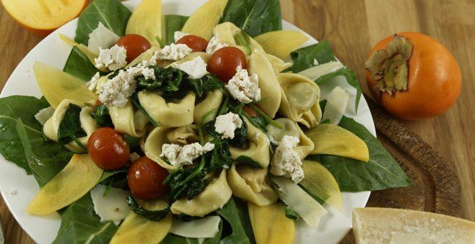 Gedämpfte Tortellini mit Spinat Ziegenkäse und Tomaten 2