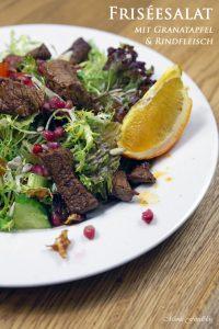 Friséesalat mit Granatapfel und Rinderstreifen 1