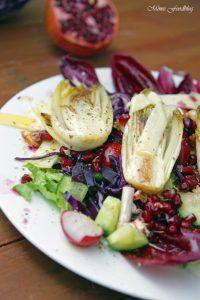 Wintersalat mit Rotkohl Granatapfel mit gebratenem Chicoree 3