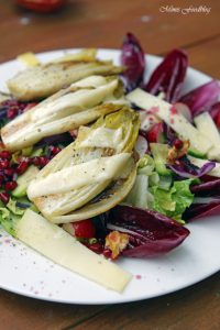 Wintersalat mit Rotkohl Granatapfel mit gebratenem Chicoree 4