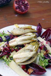 Wintersalat mit Rotkohl Granatapfel mit gebratenem Chicoree 5