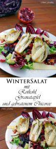 Wintersalat mit Rotkohl Granatapfel mit gebratenem Chicoree 8