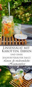 Linsensalat mit Karotten Erbsen und einer Joghurt Kräuter Sauce Linsen die wiederentdeckte Hausmannskost 7