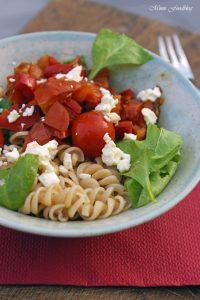 Paprika Tomaten Nudeln mit Babyspinat 4