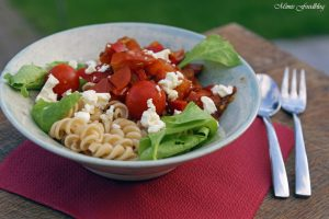 Paprika Tomaten Nudeln mit Babyspinat 6