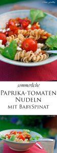 Paprika Tomaten Nudeln mit Babyspinat 7