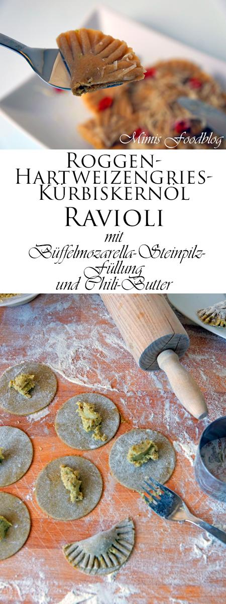 Roggen-Hartweizengries-Kürbiskernöl Ravioli mit einer Büffelmozarella-Steinpilz-Füllung