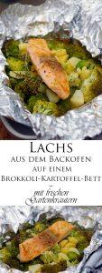 Lachs aus dem Backofen auf einem Brokkoli Kartoffel Bett mit frischen Gartenkräutern 8