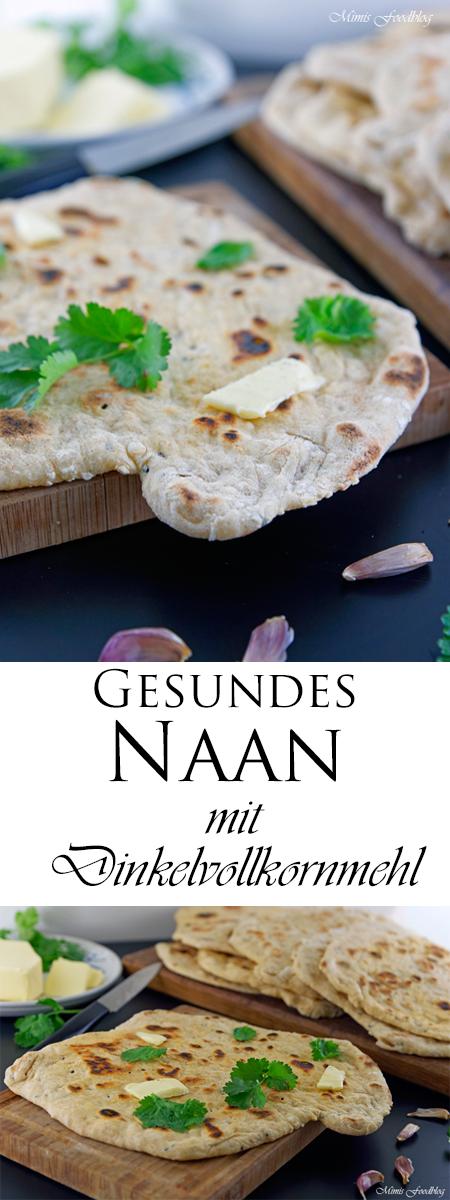 Gesundes Naan mit Dinkelvollkornmehl ~ das fluffige Fladenbrot mit Koriander und Pfeffer