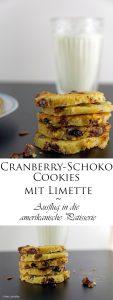 Cranberry Schoko Cookies mit Limette ein Ausflug in die amerikanische Patisserie 9