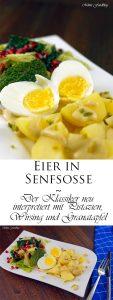 Eier in Senfsoße Der Klassiker neu interpretiert mit Pistazien Wirsing und Granatapfel 7