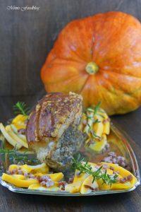 Krustenbraten mit Kürbis das herbstliche Soulfood mit Bier Pflaumen Sauce 3