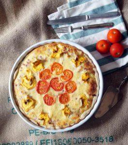 Zucchini Süßkartoffel Quiche mit Tomaten Speck und Käse von Julia von Törtchenfieber