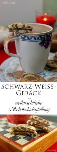 Schwarz Weiss Gebäck marmoriert mit weihnachtlicher Schokoladenfüllung 8