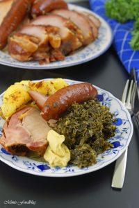Grünkohl mit karamellisierten Kartoffeln typisch norddeutsches Wintergericht 4