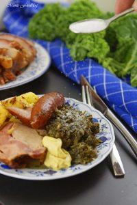 Grünkohl mit karamellisierten Kartoffeln typisch norddeutsches Wintergericht 8