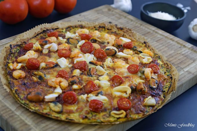 Meeresfrüchte Pizza Low Carb ~ Pizza mit Zucchini-Boden