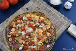 Meeresfrüchte Pizza Low Carb Pizza mit Zucchini Boden 7