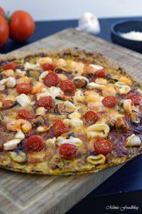 Meeresfrüchte Pizza Low Carb Pizza mit Zucchini Boden 8