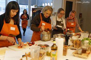 Anzeige Polenta Pommes mit Pfirsich Tomatenmarmelade Kochevent zum Thema Köstliches vom Kap 5