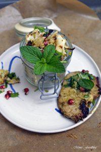 Gerösteter Blumenkohl Salat mit Bärlauch Pistazienkernen und Granatapfel 3