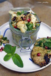 Gerösteter Blumenkohl Salat mit Bärlauch Pistazienkernen und Granatapfel 4