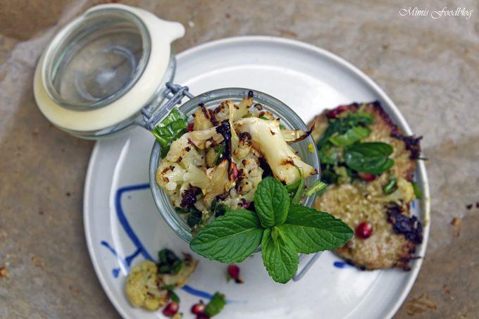 Gerösteter Blumenkohl ~ Salat mit Bärlauch, Pistazienkernen und Granatapfel