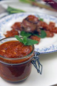 Rhabarber Chutney zu einem Bacon Medaillon eine süß deftige Rhabarber Variation für den Küchenklüngel 1