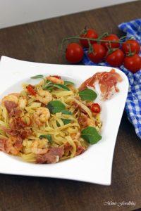 Fettuccine nach Saltimbocca Art mit Shrimps ein italienischer Küchenklassiker variiert 2