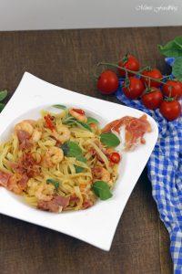 Fettuccine nach Saltimbocca Art mit Shrimps ein italienischer Küchenklassiker variiert 3