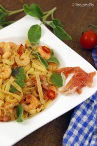 Fettuccine nach Saltimbocca Art mit Shrimps ein italienischer Küchenklassiker variiert 8