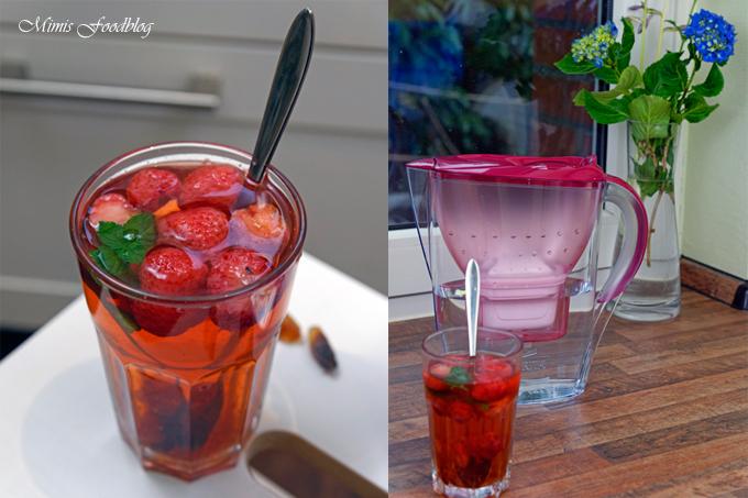 {Anzeige} Fruchtiger Erdbeer-Minz-Tee *Gewinnspiel* ~ Heißes gegen Hitze mit den BRITA Tischwasserfiltern - Mimis Foodblog