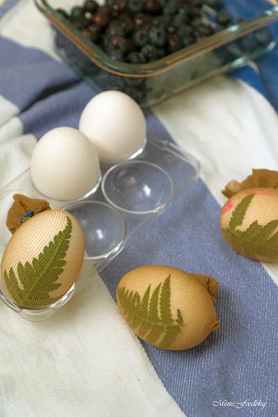 Das natürlich gefärbte Blau der Ostereier Eier färben mit Blaubeeren 7 2