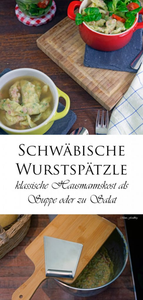 Schwaebische Wurstspaetzle klassische Hausmannskost als Suppe oder zu Salat 16 1