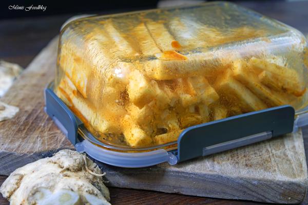 Selleriepommes aus der Heissluftfritteuse schnell und knusprig 6