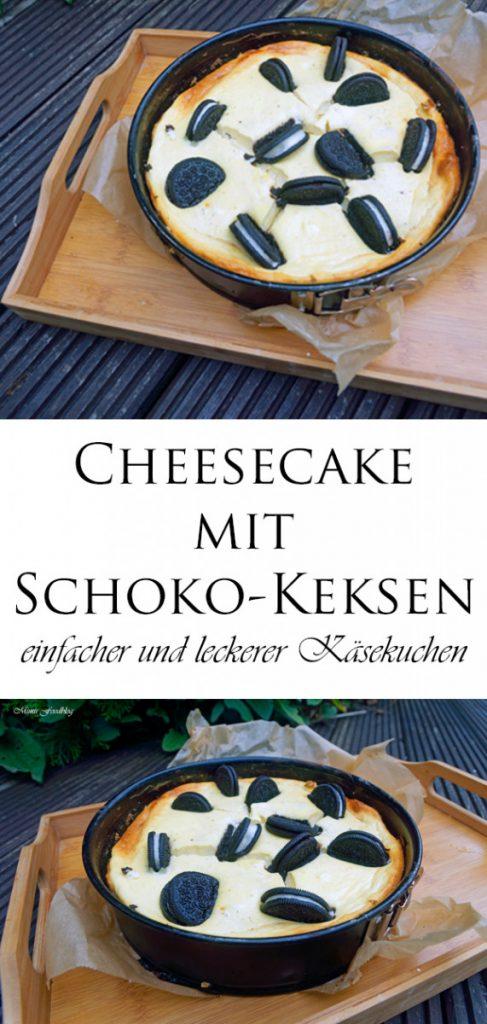Cheesecake mit Schoko Keksen einfacher und leckerer Kaesekuchen 6
