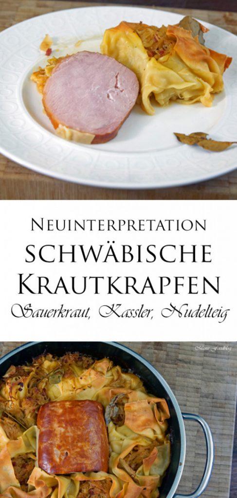 Neuinterpretation der schwaebischen Krautkrapfen Sauerkraut Kassler und Nudelteig 11